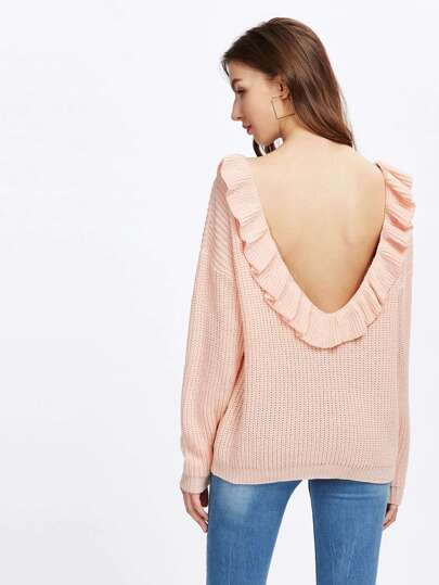 Frill Trim Scoop Back Jumper