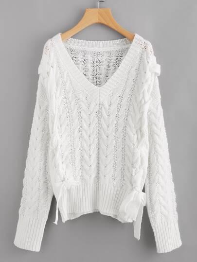 Pull-over en tricot à câble à lacets