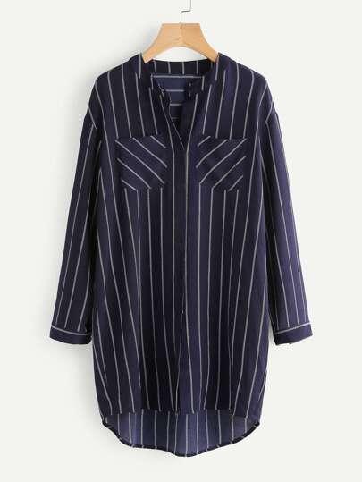 Hidden Placket Pinstripe Shirt Dress