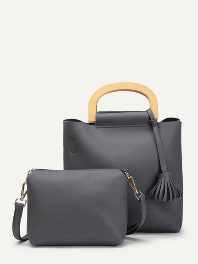 Tassel Detail PU Combination Bag 2pcs