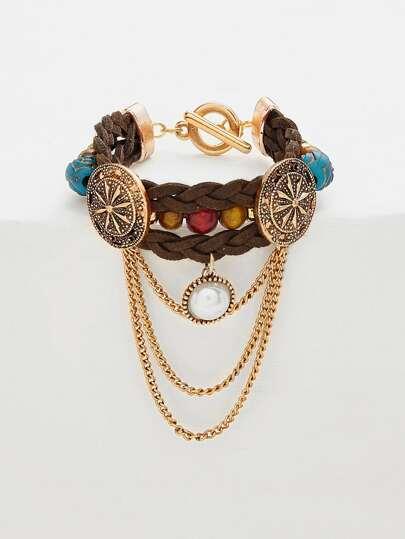 Brazalete tejido con detalle de perla artificial y cadena