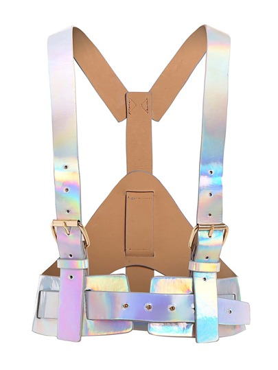 Iridescent Buckle Harness Belt