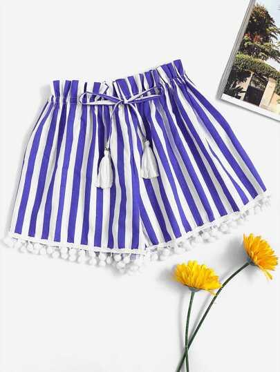 Shorts avec pan avec pompon avec cordon de taille rayure verticale