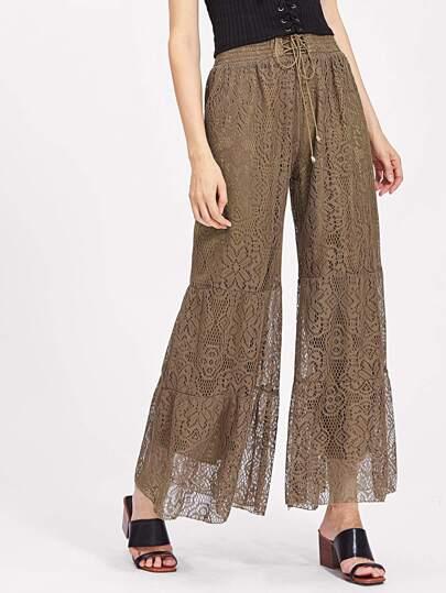 Pantalones de encaje escalonada con cordones