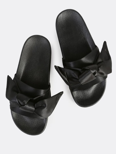 Bow Band Flat Slides BLACK