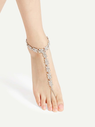 Rhinestone & Faux Pearl Embellished Flower Design Chain Anklet