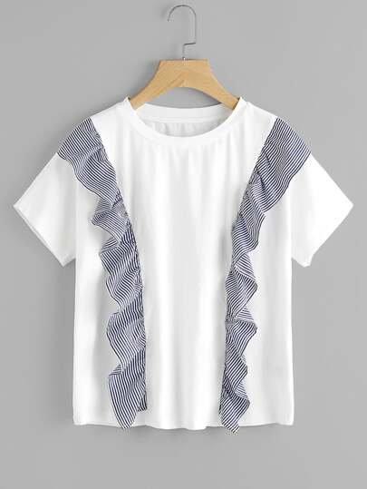 Symmetrical Striped Ruffle Front Tee