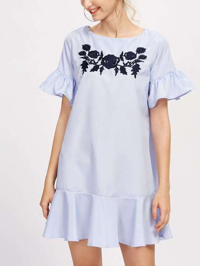 Flounce Trim Embroidered Dress