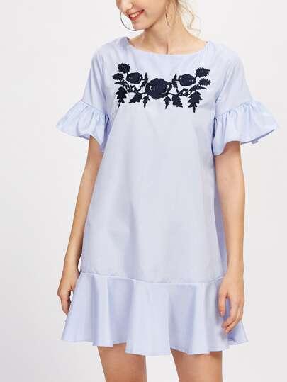 Flounce Trim Embroidered Dress