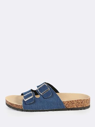 Double Buckle Denim Sandals BLUE DENIM