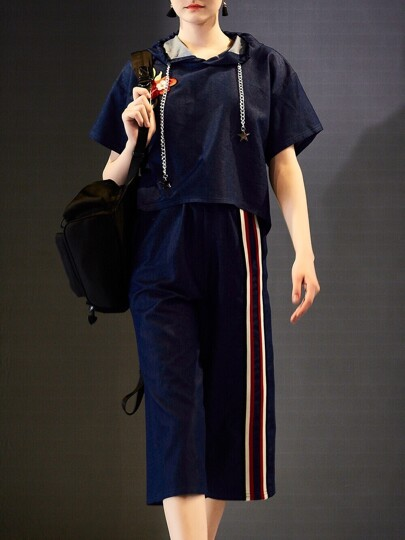 Hooded Color Block Denim Top With Pants