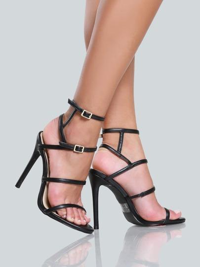 Strappy Buckle Skinny Heels BLACK