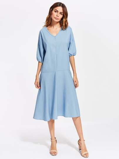 V Neckline Drop Shoulder Chambray Dress