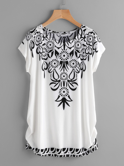 Dolman Sleeve Shirred Side Printed Tee