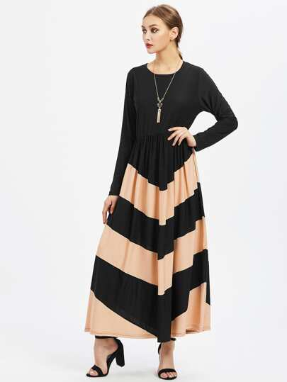 Contrast Chevron Pattern Full Length Kaftan Dress
