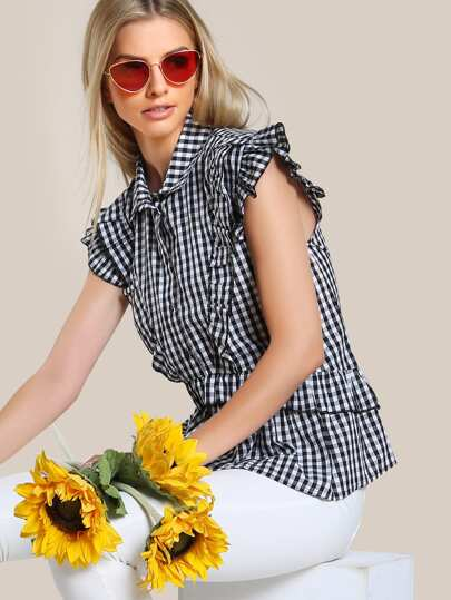 Ruffle Trim Gingham Button Up BLACK WHITE
