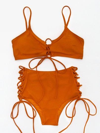 Lace Up Front And Side High Waist Bikini Set