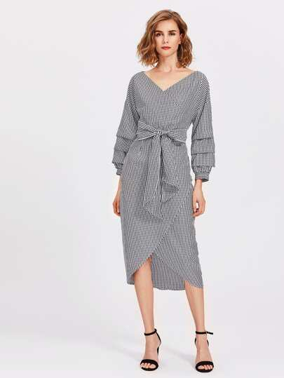 Ruched Bishop Sleeve Surplice Wrap Checkered Dress
