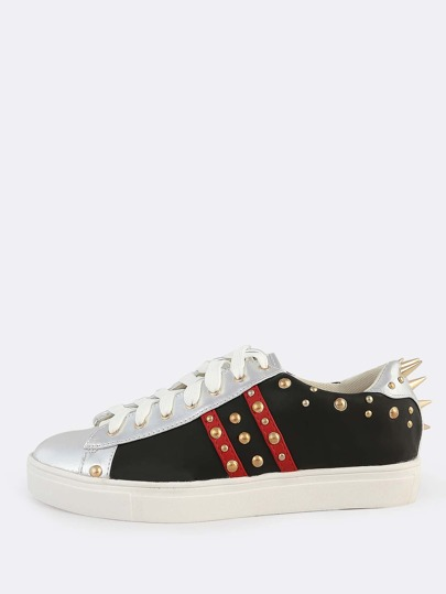 Spiked Colorblock Lace Up Sneakers BLACK