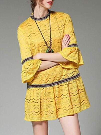 Bell Sleeve Mesh Lace Dress