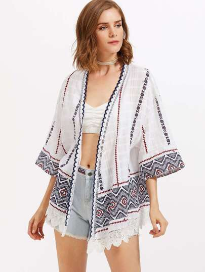 Scallop Crochet Lace Trim Aztec Embroidered Kimono