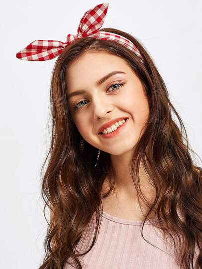 Gingham Print Cute Ear Headband