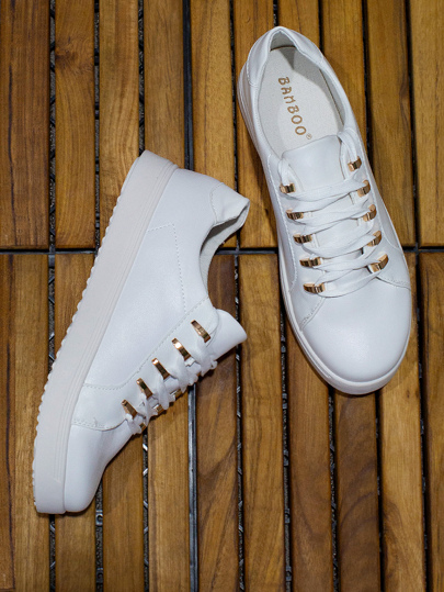 Gold Lace Up PU Sneakers WHITE