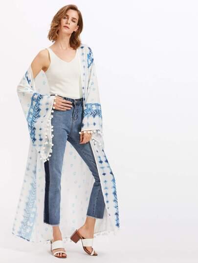 Kimono con bordi a pompon