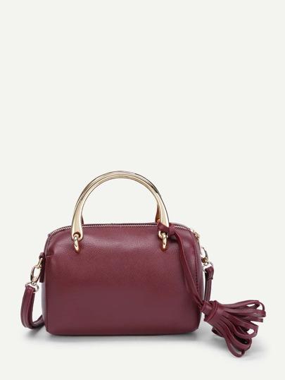 Tassel Detail PU Shoulder Bag With Handle