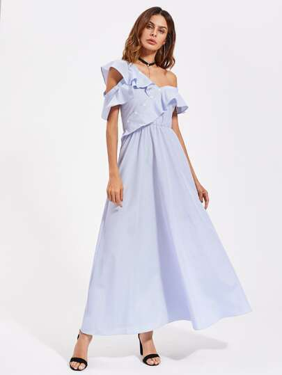 Flounced Asymmetric Shoulder And Placket Dress
