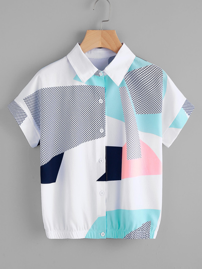 Abstract Geo Print Shirt