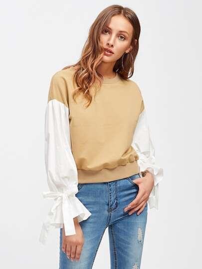 Sweat-shirt manche bouffante avec une ceinture