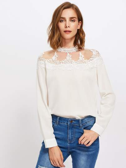Mesh Yoke Lace Applique Keyhole Back Blouse