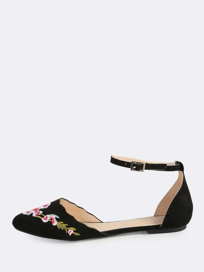 Embroidered Ankle Strap Flats BLACK