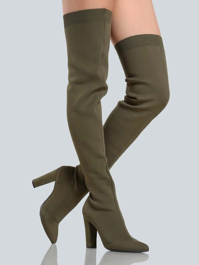 Stretch Knit Thigh High Booties OLIVE