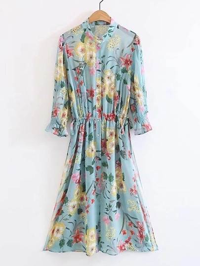 Floral Print Shirred Waist Shirt Dress