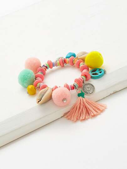Pom Pom & Tassel Decorated Charm Bracelet