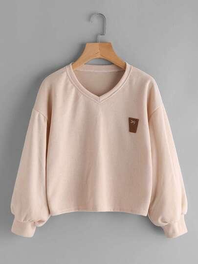 V Neckline Lantern Sleeve Patch Sweatshirt