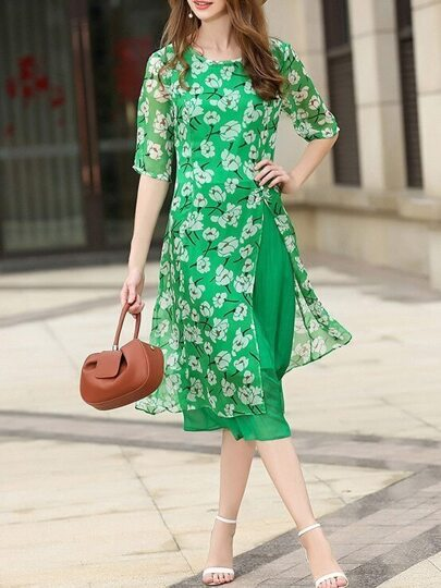 Flowers Print Split Dress