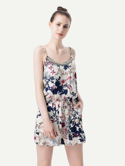All Over Florals Beading Cami Romper