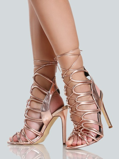 Tie Up Braided Strappy Heels ROSE GOLD