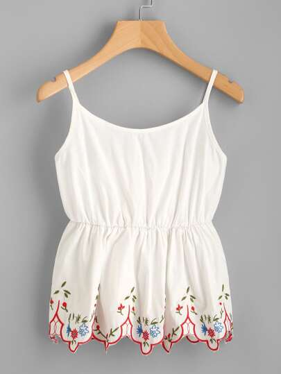 Embroidered Scallop Hem Shirred Cami Top