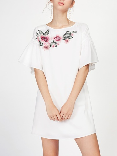 Embroidered Applique Fluted Sleeve Dress