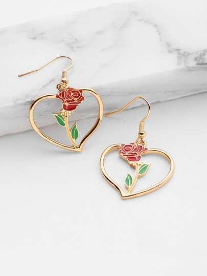 Rose Detail Heart Earrings