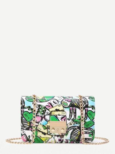 Graffiti Print Overlay Pushlock Flap Bag