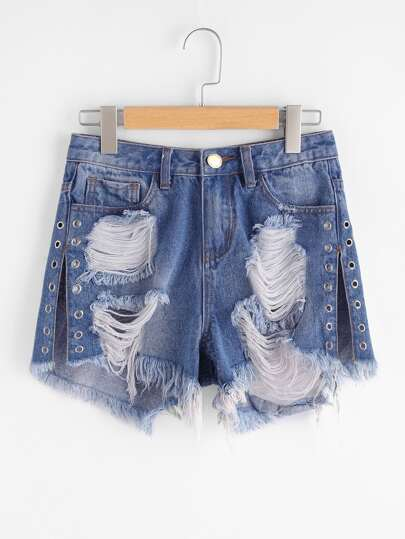 Shorts con abertura lateral en denim