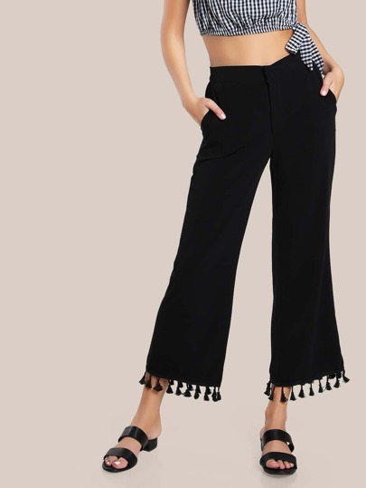 Tassel Hem High Rise Pants BLACK