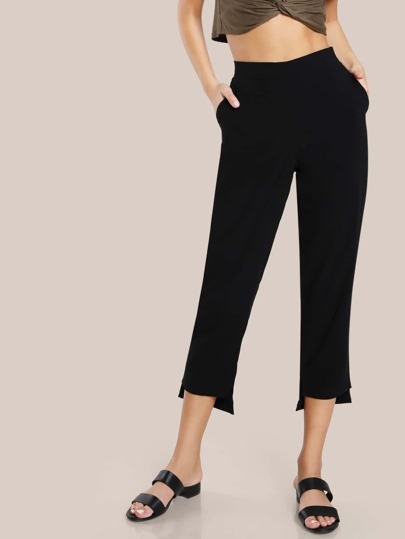 Hi Lo Hem Dress Pants BLACK