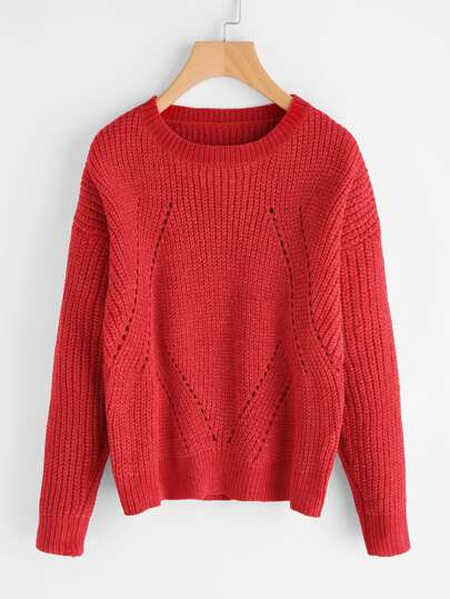 Drop Shoulder Eyelet Jumper