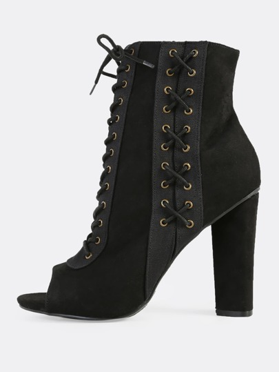 Faux Suede Eyelet Lace Up Bootie Heels BLACK